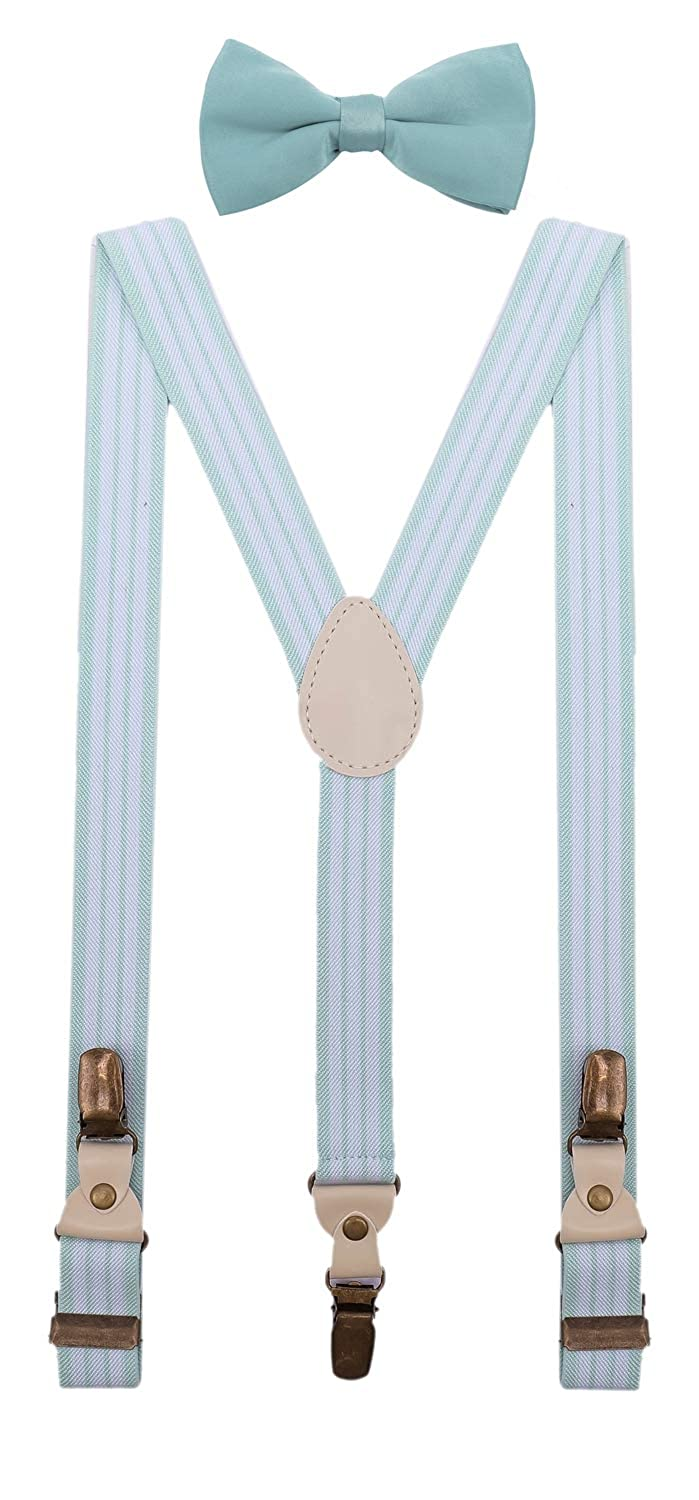 BODY STRENTH Mens Boys Suspenders and Bow Tie Set Y Shape Elastic