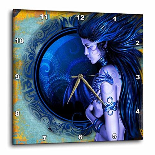 3dRose dpp_167160_2 Fantasy Pretty Vixen and Vortex Background-Wall Clock, 13 by 13-Inch