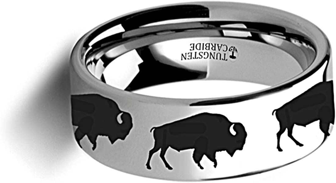 Thorsten Nature Animal Wildlife American Buffalo Bison Print Pattern Flat Polished Tungsten Ring 6mm Wide Wedding Band from Roy Rose Jewelry