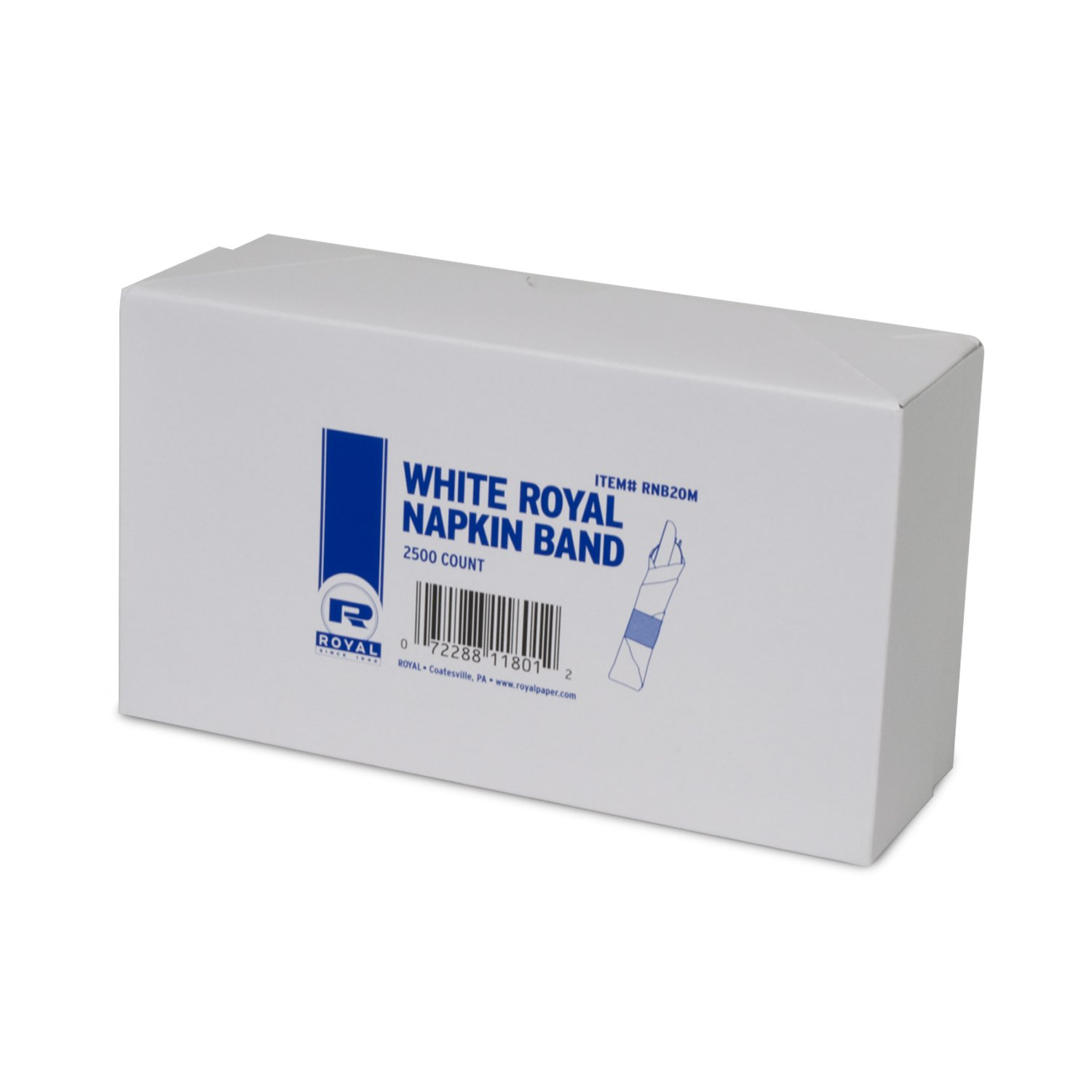 Royal White Napkin Bands with Self-Sealing Glue and Bond Paper Construction, Package of 2,500