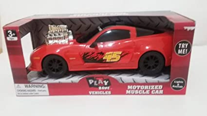 Amazon Com Play Zone Vehicles Motorized Muscle Car Red Toys Games