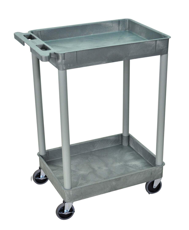 Offex 2 Shelf Multipurpose Utility Tub Cart with Ergonomic Push Handle - Gray