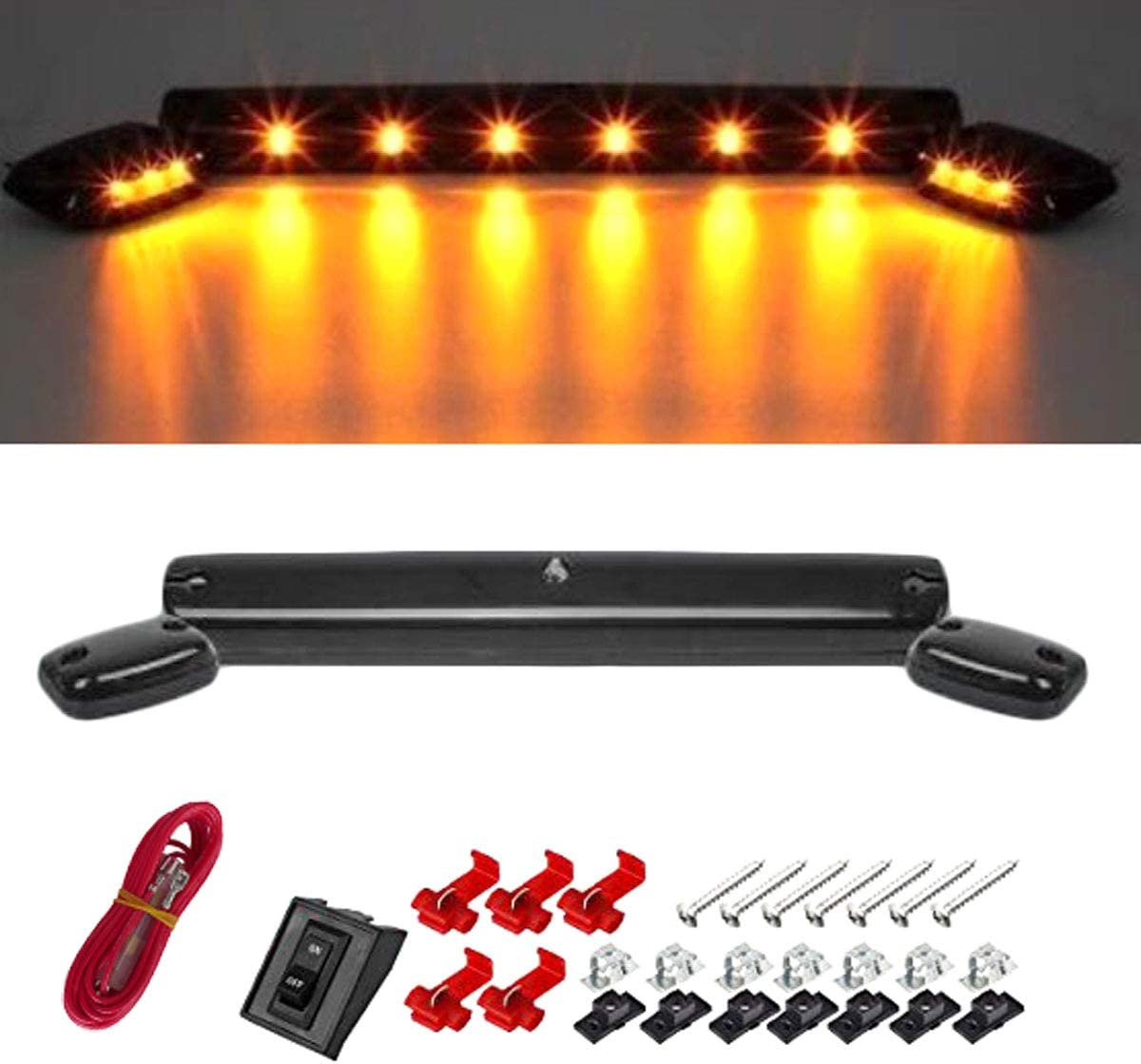 ON//OFF Switch and All Accessories w//Wire Harness /& Switch Smoked Lens LED Cab Roof Running Lamps for Chevrolet Silverado or GMC Sierra 2500 3500 HD 2007-2020 3-Piece Top Marker Running Light Set
