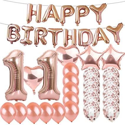 Sweet 11th Birthday Decorations Party SuppliesRose Gold Number 11 Balloons Foil Mylar