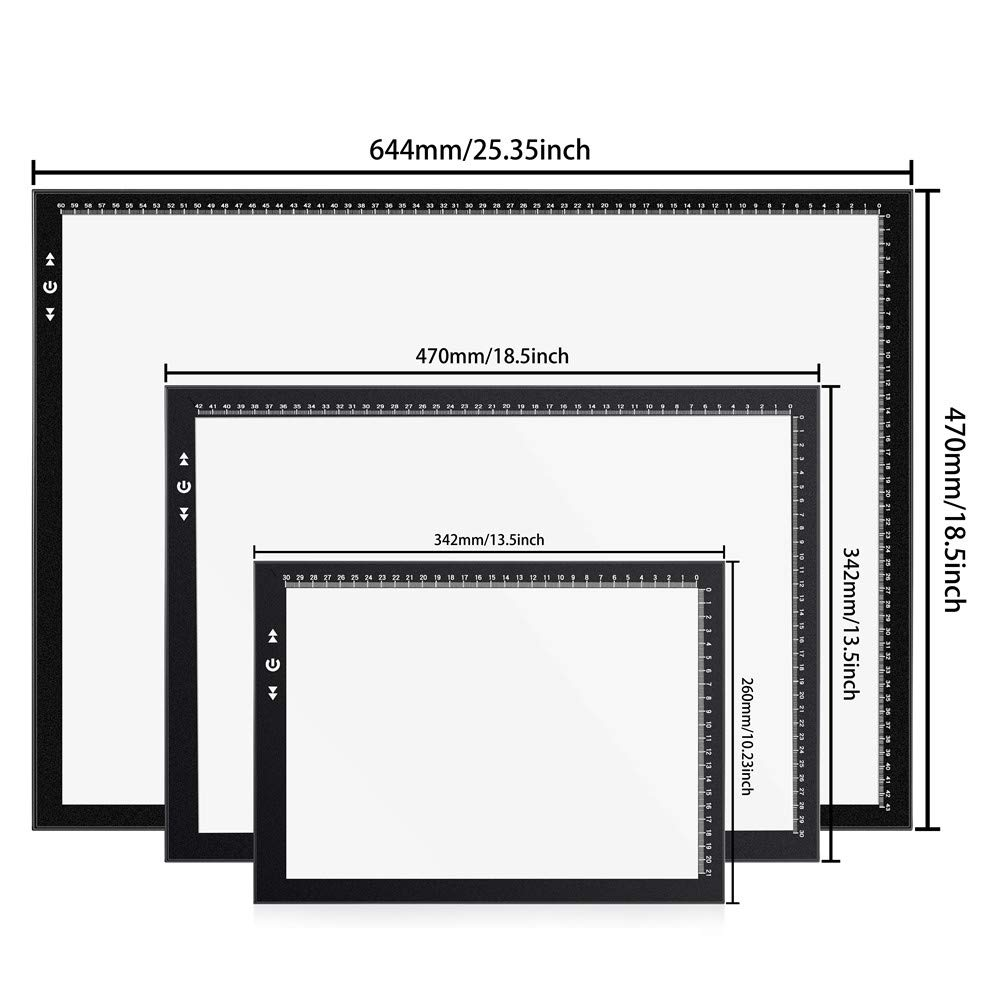 A4 Led Light Box Light Pad New Improved Structure Touch Dimmer 8W Super Bright Max 3800 Lux with Free Carry/Storage Bag 2 Years Warranty (A4 Light Pad) by HSK (Image #6)