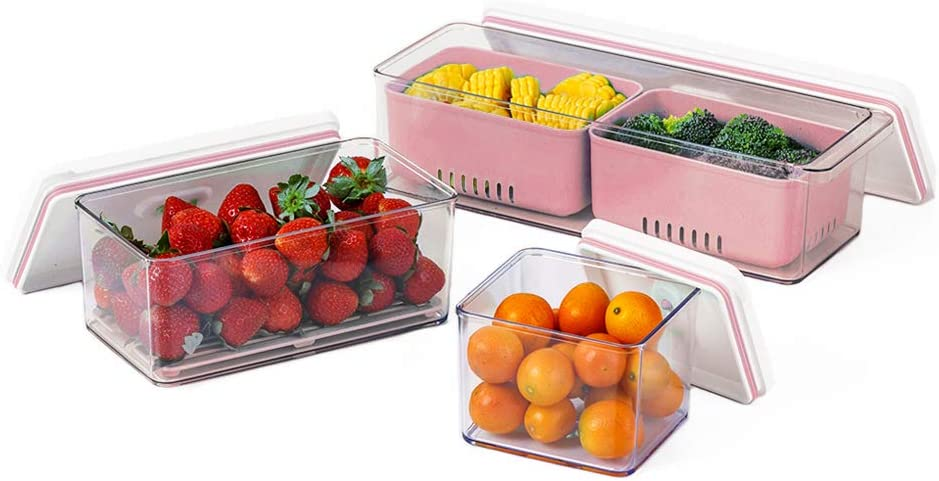 Lille Home Stackable Produce Saver, Organizer Bins/Storage Containers with Removable Drain Tray, Set of 3, for Refrigerators, Cabinets, Countertops and Pantry, BPA Free (Pink)