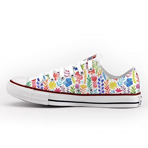 Converse All Star Low Customized and Printed - handmade shoes - Italian Brand - Flowers
