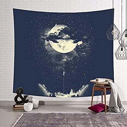 Night Starry Sky Tapestry Forest Wall Hanging Throw Hippie Tapestries Bedspread