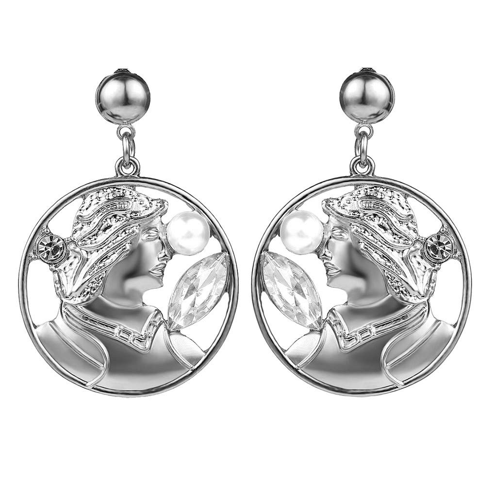 NEWDD Portrait Relief Creative Earrings- Retro Cutout Imitation Pearl, Essential for Ladies of Temperament (Silver)