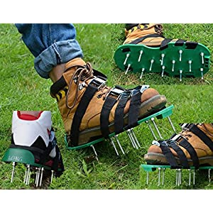 LEHKG Lawn Aerator Shoes, NEW Version Heavy Duty Spiked Sandals for Grass, with 4 Adjustable Straps and Metal Buckles, Best Garden Tools.