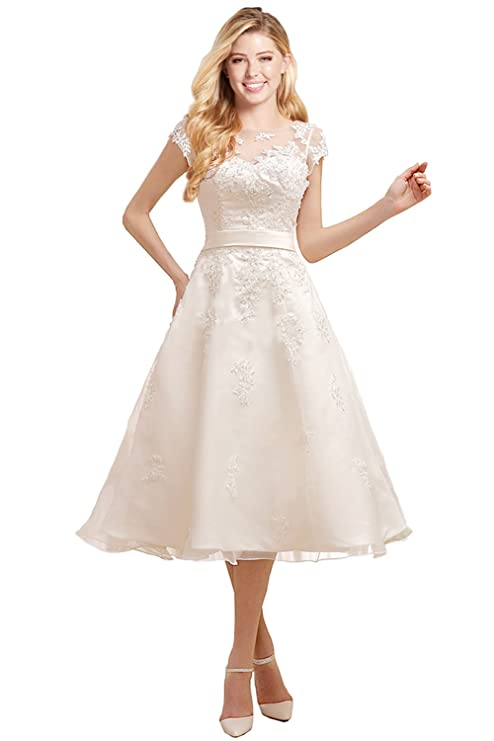 Vintage Style Wedding Dresses, Vintage Inspired Wedding Gowns MILANO BRIDE Short Wedding Dress Evening Gown Tea-Length Cap Sleeves Applique $165.69 AT vintagedancer.com