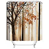 ALDECOR Fall Trees Print Shower Curtain Maple Design Tree Water, Soap, and Mildew Resistant Machine Washable Shower Curtains, Orange Ivory Brown Beige, 72x80 inch