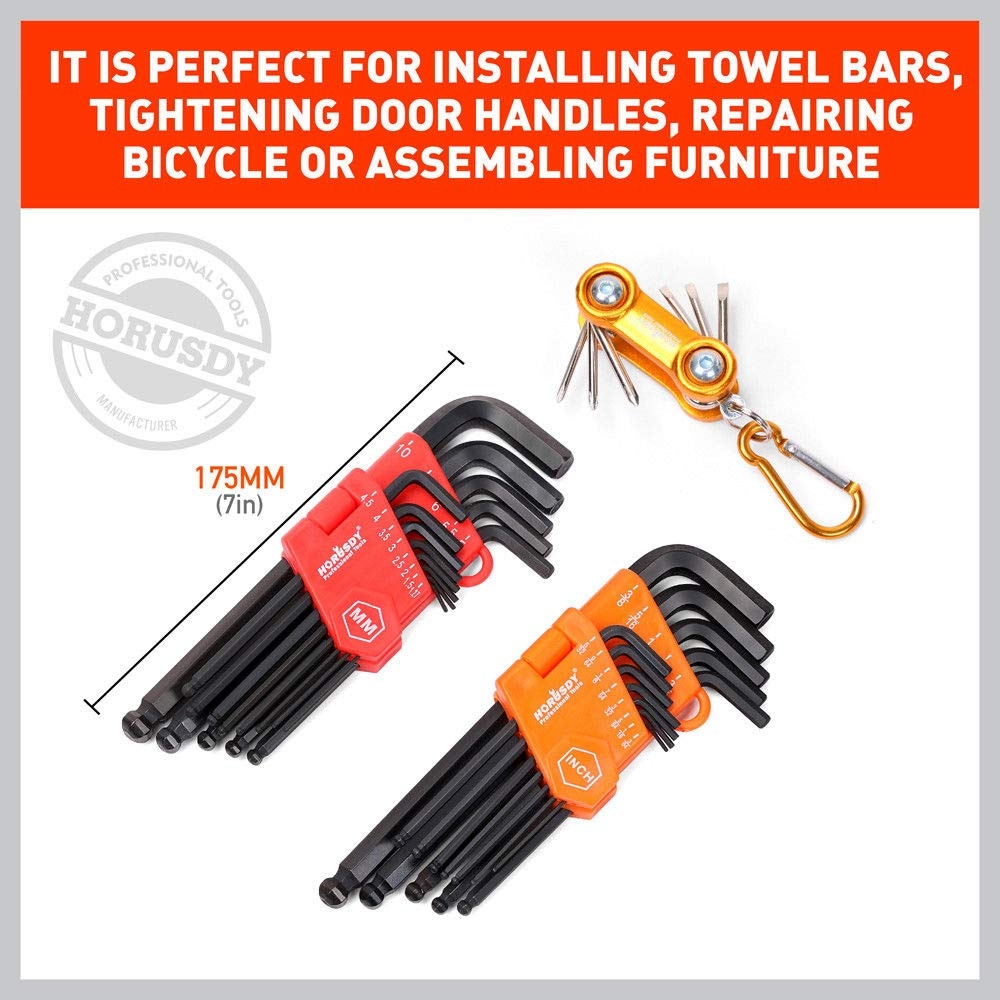 Inch//Metric and Mini Screwdriver Set HORUSDY Allen Wrench Set 32-Pieces Hex Key Set Long Arm Ball End Best Unique Tool Gift for Men