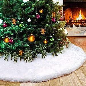 Flysee Albero di Natale Gonna Copertura di Base Bianco Peluche Pannello Esterno Albero Natale per Albero di Natale Decorazione Natalizia, 36 Pollici / 90CM 3 spesavip