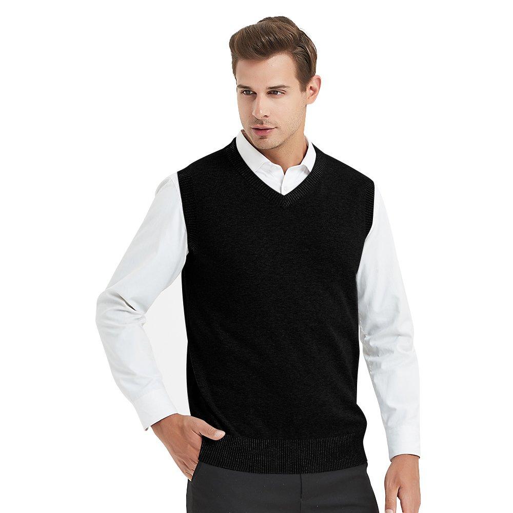 TopTie Mens Business Solid Color Plain Sweater Vest, Cotton Fit Casual Pullover-Black-M