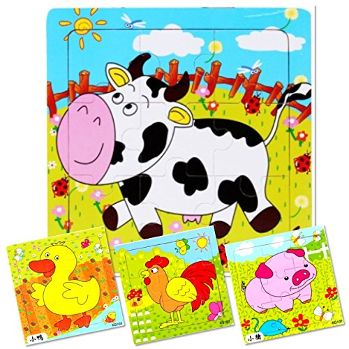 Set of 4: 9 Piece Wooden Farm Animal Puzzles. Kids Colorful Educational Jigsaws include Cow, Duck, Pig and Chicken. For toddlers and preschoolers over 3 years, by INTELLITOYZ