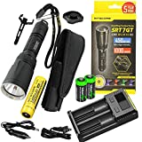 Nitecore SRT7GT 1000 Lumen CREE LED Built in Red, Green, Blue, UV Lights, Flashlight w/ NL189 18650 Li-ion rechargeable battery,Nitecore i2 Charger and 2 X EdisonBright CR123A Batteries bundle