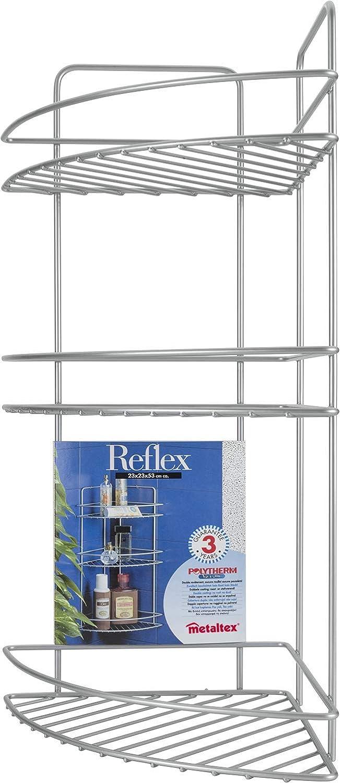 Scaffale angolare a 3 ripiani per bagno della gamma Reflex Metaltex con rivestimento in Polytherm