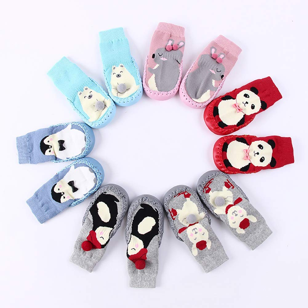 Wazi Non-Skid Ankle Cotton Socks with Grip for 0-24 Months Baby Girls Boys, 3 Pairs (Color : D, Size : 18-24 Months) by Wazi