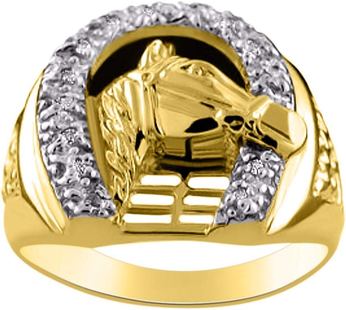 RYLOS Anillo de diseño de cabeza de herradura de la suerte con diamantes genuinos engarzados en oro amarillo de 14 quilates o oro blanco de 14 quilates