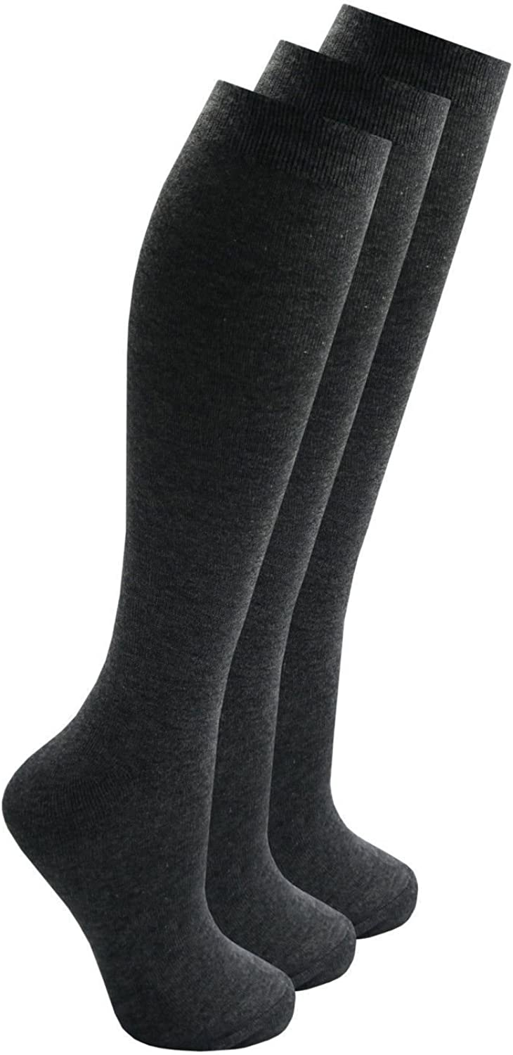 3, 6 /& 12 Pair Multi Pack Ladies /& Girls Knee High Length Cotton Rich Everyday School Socks Black White Navy and Charcoal