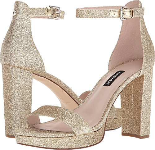 Nine West Women's Dempsey Platform Heel Sandal Light Gold Synthetic 10.5 M US M - Light Gold Sandals