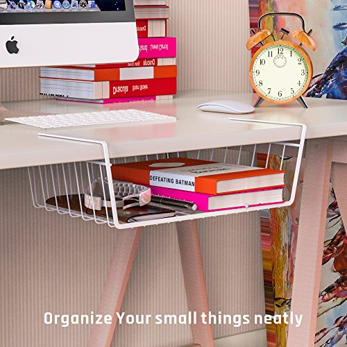 iSPECLE Under Shelf Basket, 4 Pack White Wire Rack, Slides Under Shelves for Storage, Easy to Install by iSPECLE (Image #5)