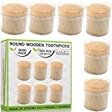 Natural Wooden Toothpicks 3000 Count - Long Strong Round Splinter-Free Bamboo Wood for Quick and Easy Tooth Cleaning | 6 Dispensers/500 pcs Each