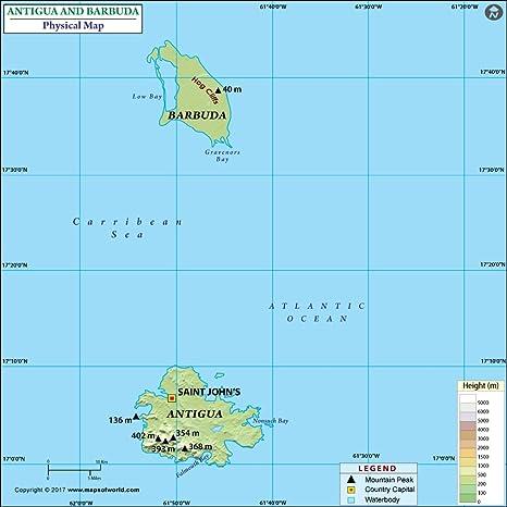 Amazon.com : Antigua And Barbuda Physical Map - Laminated ...