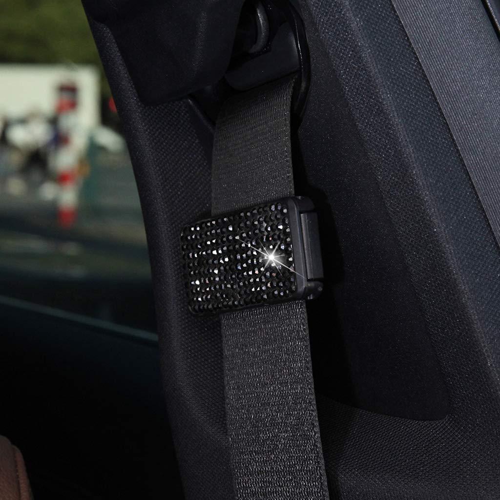 Meatyhjk Car Seat Belt Adjuster Bling Crystal Rhinestones Seatbelt Clips Auto Shoulder Neck Strap Positioner Locking Clip for Adults,Kids,Women /& Short People