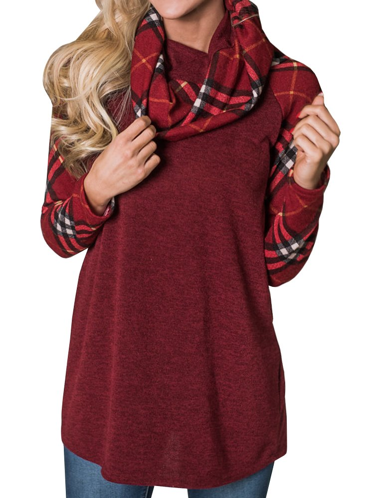 Chuanqi Womens Sweatshirts Cowl Neck Plaid Raglan Sleeve Tunic Tops Pullover Shirts