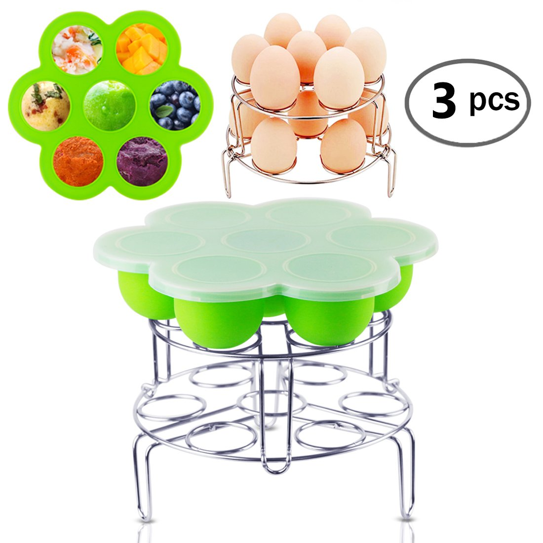Instant Pot Accessories Silicone Egg Bites Molds with 2 Pcs Stainless Steel Egg Steamer Rack Set for Instant Pot Accessories Reusable Storage Container By Fanuk Sl-EBM