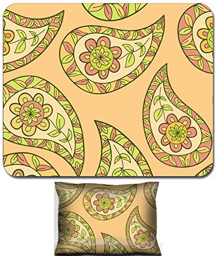 Liili Mouse Wrist Rest and Small Mousepad Set, 2pc Wrist Support IMAGE ID: 19959704 Paisley floral textile pattern Seamless pattern can be for wallpaper fabrics paper craft projects web p