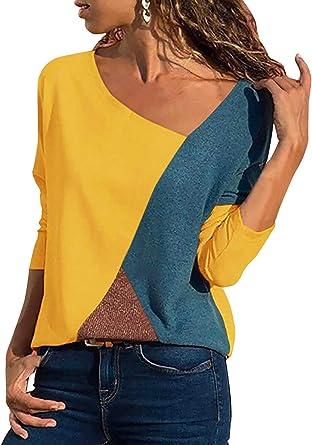 Camisa Mujer Casual Leopardo Patchwork Bloque de Color Cuello en V Asimétrico Manga Larga T-Shirt Camiseta Blusa Basic Tops Camisetas Pullover Túnica (Amarillo, XX-Large): Amazon.es: Ropa y accesorios