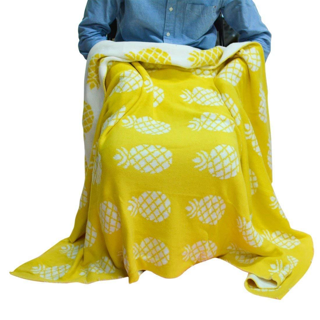 Brandream Yellow Pineapple Knitted Blanket Kids Bed Blanket Adults Summer Blanket by Brandream