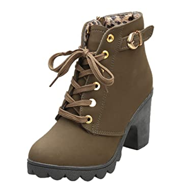 8e1c8a9a56ac Womens Buckle Strap Ankle Boots - Ladies Sexy High Heel Chunky Platform  Lace Up Dress Booties