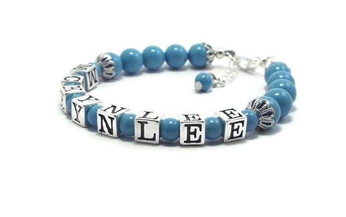 neues zum halben Preis schön billig Türkis Perle und Sterling Silber Name Armband, Blumenmädchen ...