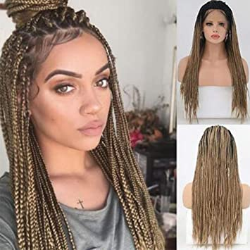 wig Natural Recto Sintético Encaje Frente Micro Trenzas Peluca Ombre Negro A Marrón Trenzado A Mano