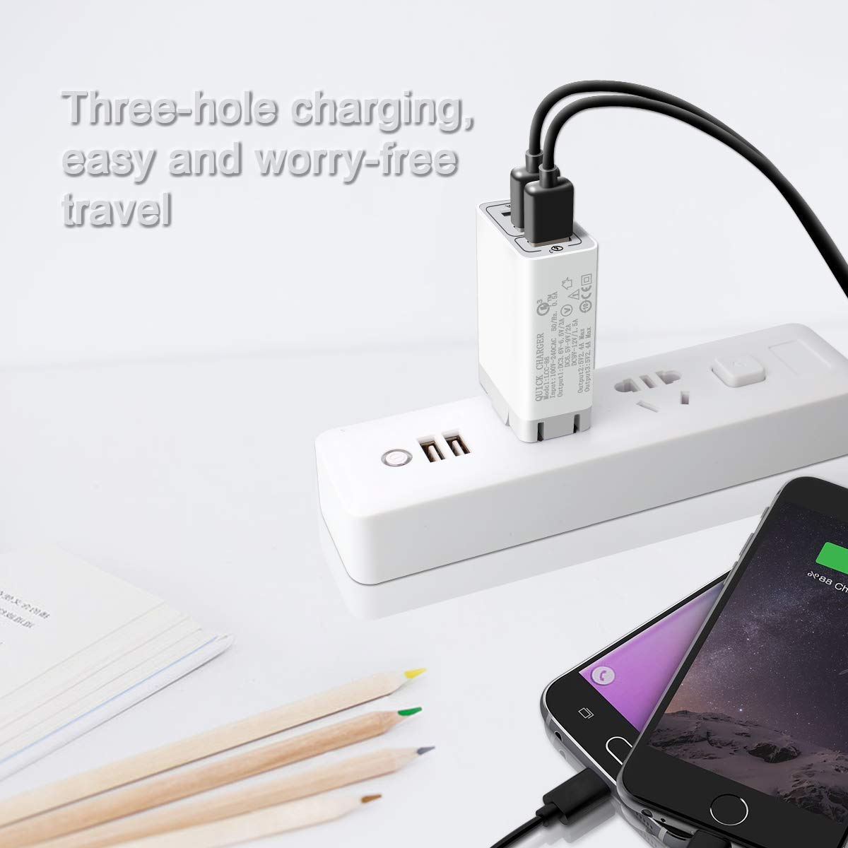 Quick Charge 3.0 Wall Charger, 30W 3 Port Travel Wall Fast Charger Adapter QC3.0 QC2.0 SmartPorts+Detachable Plug for iPhoneX/8/7/6 Samsung s9S8/S7,Note8/7,LG,iPd,Sony,HTC (White)