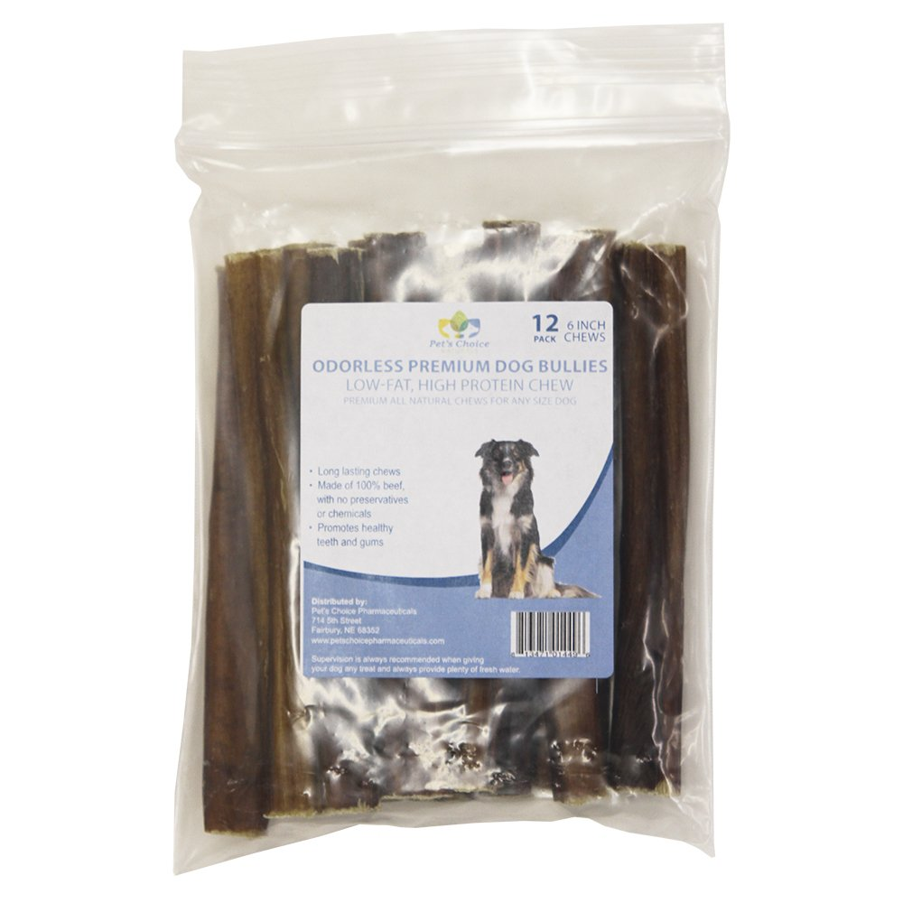 Pet's Choice Pharmaceuticals 12 Count Premium Odorless Bully Sticks (12 Pack), 6''