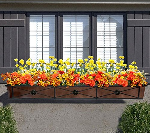 60in. The ''Medallion'' Tapered Iron Window Box with Oil-Rubbed Bronze Metal Liner by Windowbox