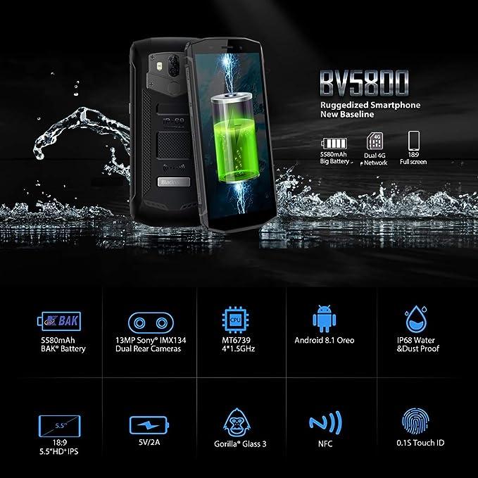 Grfg5656 [HK Stock Blackview BV5800, teléfono móvil, 2GB + 16GB, IP68 a Prueba de Polvo a Prueba de Golpes a Prueba de Agua, Doble cámara, ...