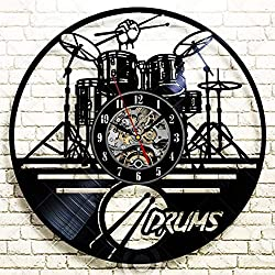 La Bella Casa Drums Music Style Decor Art Wall Clock Vinyl Wall Clock - Get Unique Wall Home Decor - Gift Ideas for Him and Her - Original Handmade Vintage Gift