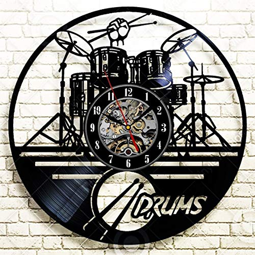 La Bella Casa Drums Music Style Decor Art Wall Clock Vinyl Wall Clock - Get Unique Wall Home Decor - Gift Ideas for Him and Her - Original Handmade Vintage Gift (Wall Drum)