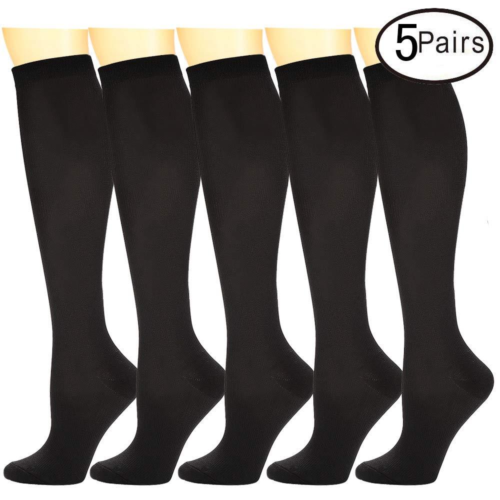 Compression Socks 5 Pairs For Women and Men--Best Athletic, Edema, Varicose Veins,Maternity,Travel,Flight Socks ,Shin Splints - Below Knee High. (Large/X-Large, Black)
