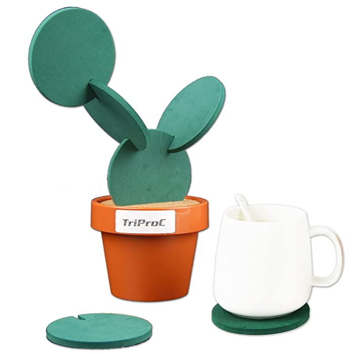 TriProC Original Coasters Set of 6 Pieces With Creative Cactus Shaped Design For Holiday Gift & Home Decoration
