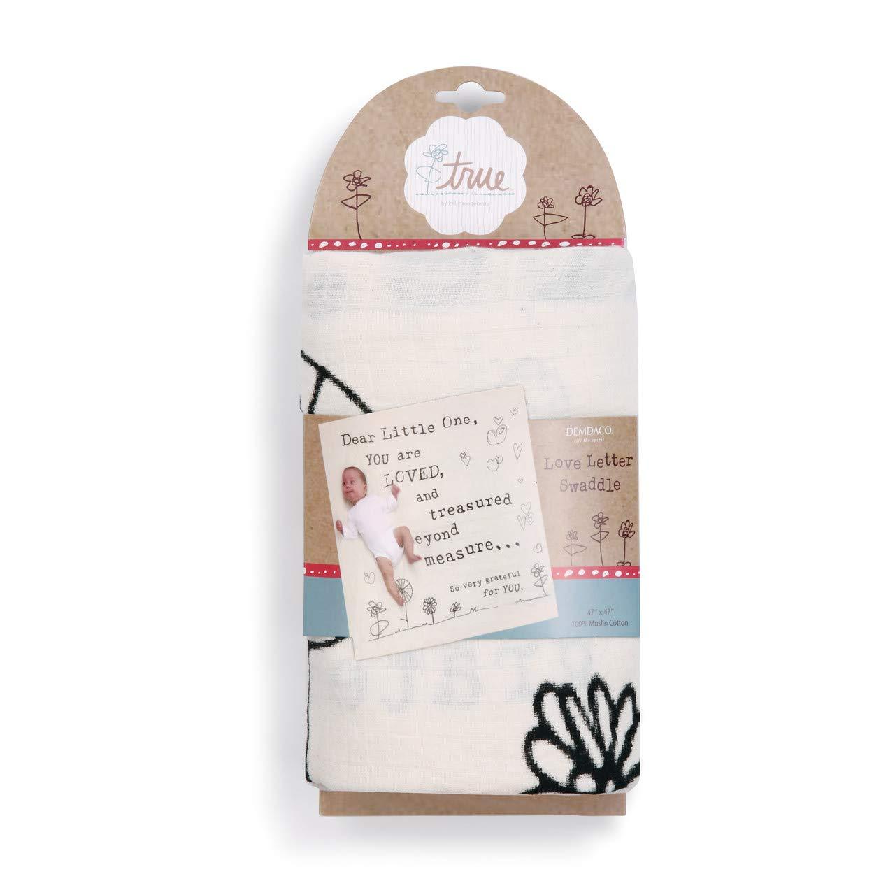 Dear Little One Love Letter White 47 x 47 Muslin Cotton Throw Swaddle Blanket