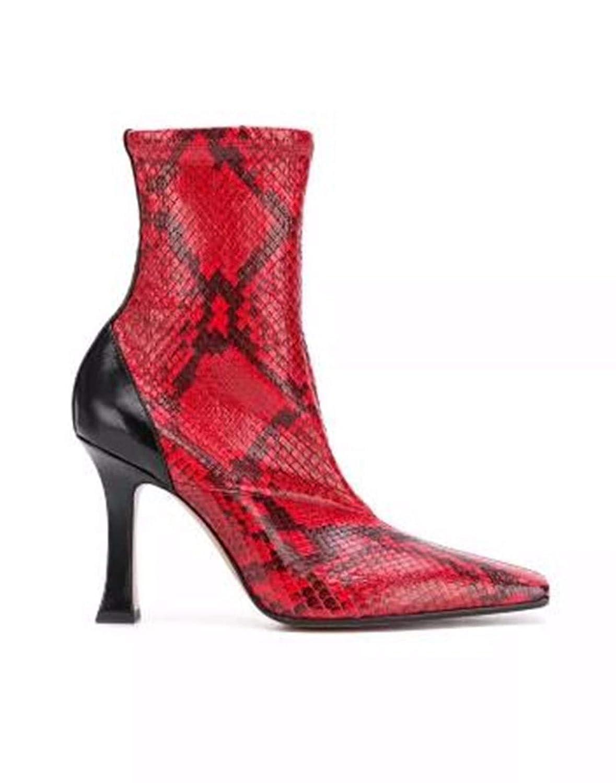 Olici Damen Stiefel Stiefel mit quadratischem Kopf dünner Absatz Kurze Ferse Schlangenhaut Adern in Rot