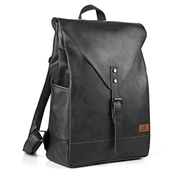 Amazon.com: Koolertron PU Leather Laptop Backpack lightweight ...