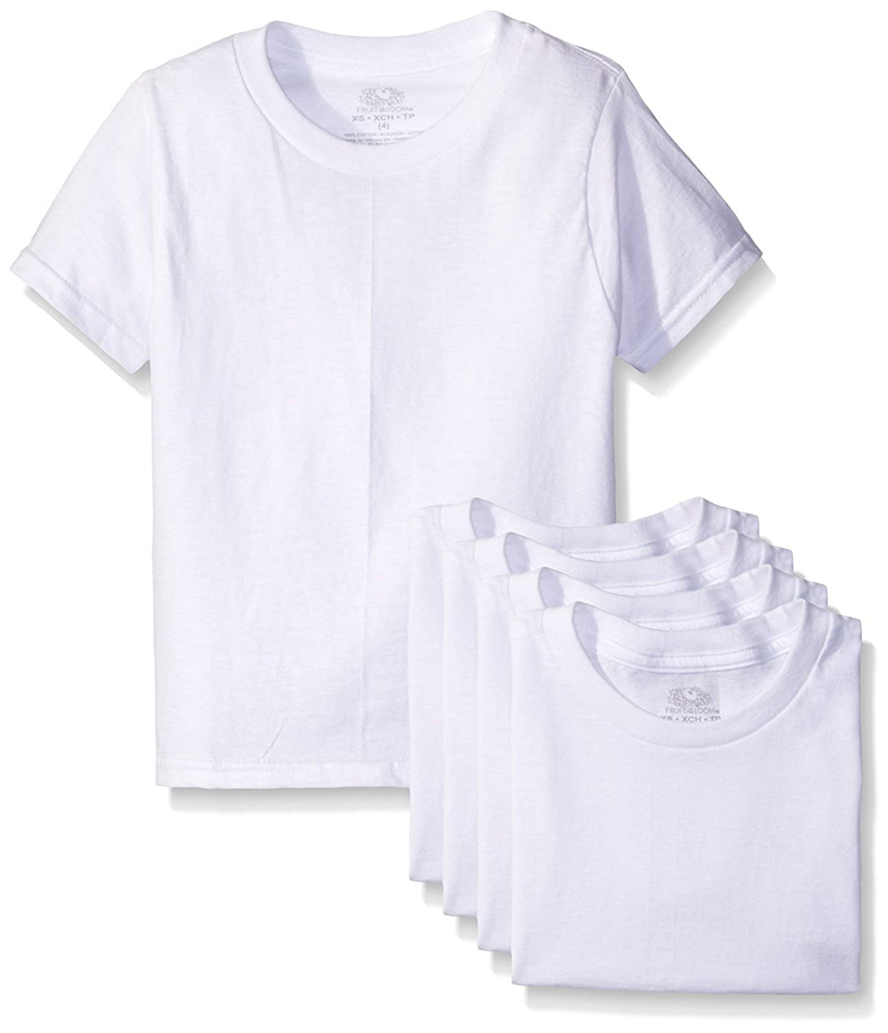 Fruit Of The Loom Little Boys' Crew Tee Five-Pack (Pack Of 5) (White, 3T)